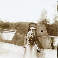 Francia Canon Fine Da La Grande Guerre c1925 Stereo L33n2 Placca Da Lente Foto