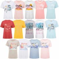 South Shore Women's Vintage Retro Graphic Print Surf Crew Neck T-Shirt Tee Top