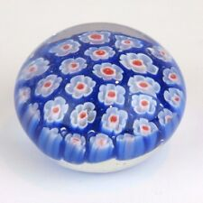"Glass Floral Coral Reef Paper Weight Blue Red & White Flowers 1.5""H x 2""W New"