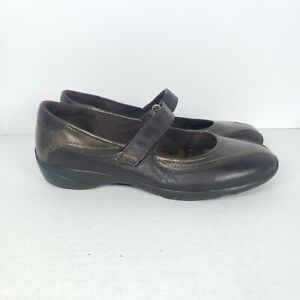 Ecco Cloud Womens Size 39 US 8-8.5 Mary Jane Bronze Brown Leather Comfort Shoes