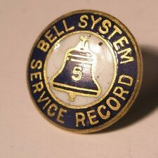 Bell System Service Record 5 Year Vintage Screw Back Lapel Pin gift No Nut