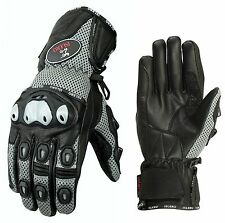 ISLERO All Weather Leather Motorbike Motorcycle Gloves Carbon Fiber GEL Knuckle