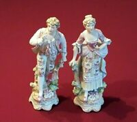 Vintage Pair of Arnart Imports Bisque Porcelain 18th Century-style Figurines