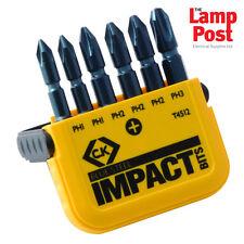 """CK Tools T4512 Impacto Set of 6 Bright Phillips (Ph) 50 mm 2"""" Bits Destornillador Largo"""