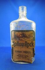 Vintage Hollow Rock Bourbon Whiskey Glass Alcohol Bottle w/ Paper Label