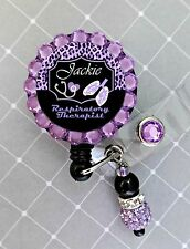 RESPIRATORY THERAPIST RETRACTABLE ID REEL BLING BADGE HOLDER with Charm