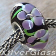GLASS BEAD STERLING SILVER 925 CHARM PURPLE FLOWERS FRANGI BLACK FIT BRACELET