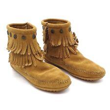 Women's Minnetonka Handmade Boots Size 6 Suede Brown Taupe Fringe Side Zip 697T