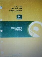 John Deere 170 175 180 185 Lawn Tractor & Mower Owners Manual 80pg s/n 010001<
