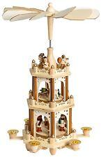 "BRUBAKER Christmas Pyramid 18"" Wood Nativity Play, 3 Tier Carousel"
