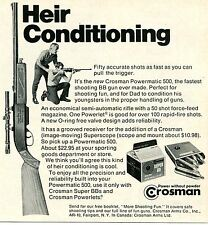 1970 small Print Ad of Crosman Powermatic 500 Rifle BB Gun heir conditioning