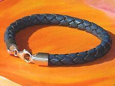 Chunky 8mm Dark Blue braided leather & sterling silver bracelet by Lyme Bay Art.