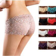 Women Ladies Lace Boxer Shorts Briefs Panties Thongs G-string Lingerie Underwear