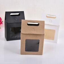 Kraft Paper Candy Wrapping Bag Paper Gift Package Present Case Clear PVC Window
