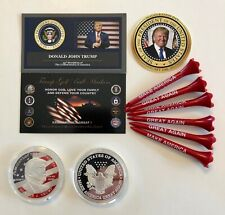Trump Golf Ball Marker Coin & Tee Set ...Trump USA Flag ... + 1 Decal