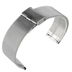 20/22mm Stainless Steel Mesh Silver Bracelet Wrist Band Solid Link Watch Strap