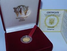 Rare! ORIGINAL UKRAINE 2006 GOLD 999 AU COIN 2 UAH 1/25 oz Hedgehog