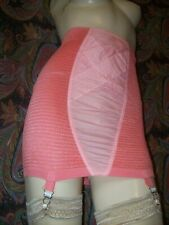 Vintage Coral Pucker Knit High Waist Open Bottom Metal Garter Girdle L-Xl