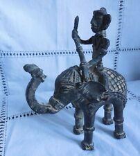 SCULPTURE ETHNIQUE  ELEPHANT CAVALIER ORIGINE INDE REGION BASTAR A CONFIRMER