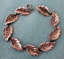 Vintage Beau Sterling Silver Figural Leaf Link Bracelet