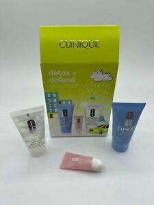 Clinique Detox Defend 3Pc Set - Hydrating Jelly, Clay Mask, Lip HydroPlump NIB