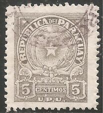 "Paraguay Stamp - Scott #430/A110 5c Gray ""Coat of Arms"" Canc/LH 1946"