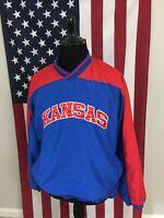 Kansas Jayhawks KU Windbreaker Jacket men's LARGE pullover vneck red blue 2b826