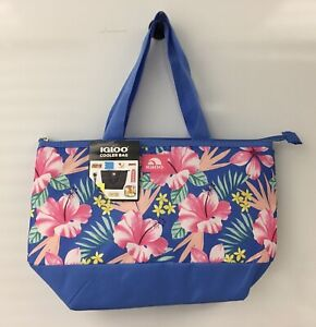 New Igloo Fully Insulated Cooler Tote Bag Heather Blue Floral Print Holds 8 Cans