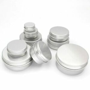Round Aluminium Silver Tin Container EPE Lined Screw Lid 5ml,10ml,15ml,20ml-60ml