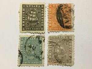 old stamps   BRITISH GUIANA   x  4