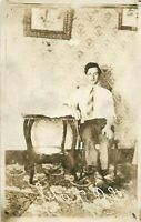 Postcard RPPC Young Man In Chair