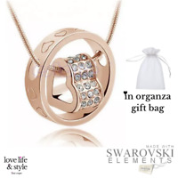 Gold Plated Love Heart Pendant SWAROVSKI CRYSTALS + Necklace Jewellery