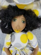 -New- Handmade cloth doll Kimberly Kwestionmark#256 grey and white polka dot