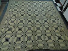 1811 Jacquard Coverlet-Signed Parley Hosford/ Poultney Vt/1811 -Navy/Cream-76x84