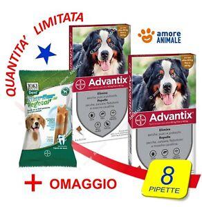 2 CONFEZIONI (+PS) Advantix Bayer 4 pipette x cani 40-60 kg oltre 40 fino 60 kg