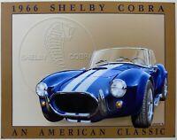 PLAQUE métal vintage SHELBY COBRA 1966 - 40 X 30 CM import USA