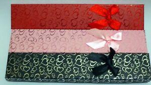 Gift Box Bow & Hearts Jewellery Bracelet Watch Flock  foam Inner Black-Pink-Red