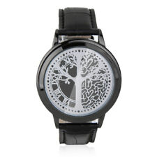 LED Touch Screen Wrist Watch Abyss Binary PU Leather Strap Black Blue Light