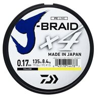 Daiwa J-Braid x4 Fishing Braid 135m Spools Dark Green/Yellow Japanese Line