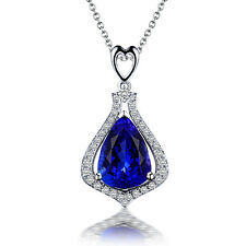 18k White Gold Sparkle Baguette Diamond & AAAAA Tanzanite Pendant  Pear Shape