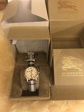 NIB Burberry Silver Dial Stainless Steel Textile Quartz Men's Watch BU10002