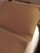 Martha Stewart 2 Standard Shams Solid Quilted Tan & Cream Cotton