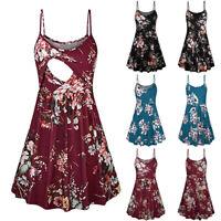 Women Pregnancy Maternity Floral Tunic Sundress Summer Nursing Sleeveless Dress