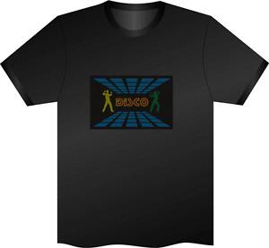 Unique Equalizer DJ/Rave/Pub Music Sound Activated flashing LED T-Shirt 029