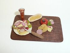 Artisan Made Dollhouse Miniature 1:12 Scale, Tray of Food Signed BJs '88