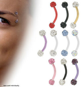 """Eyebrow Ring Titanium Curved Barbell Earring with Jewels16g 5/16"""""""