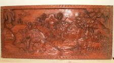 Vintage Asian hand carving wood wall hanging plaque rural landscape elephant