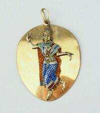 Large vintage Siamese siam dancer enameled relief pendant medal