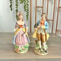 Vintage Victorian Couple Figurines Bisque Porcelain Collectible Decor