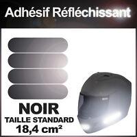 Kit 4 bandes stickers standard rétro réfléchissants casque moto REFLECTIVE NOIR